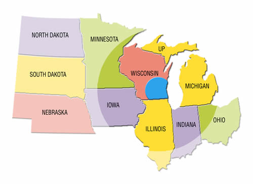 Transtar service area is predominantly concentrated around Greater Milwaukee and Southeast Wisconsin, our reach often includes all of Wisconsin and neighboring states, even extending as far as Nebraska and Ohio.
